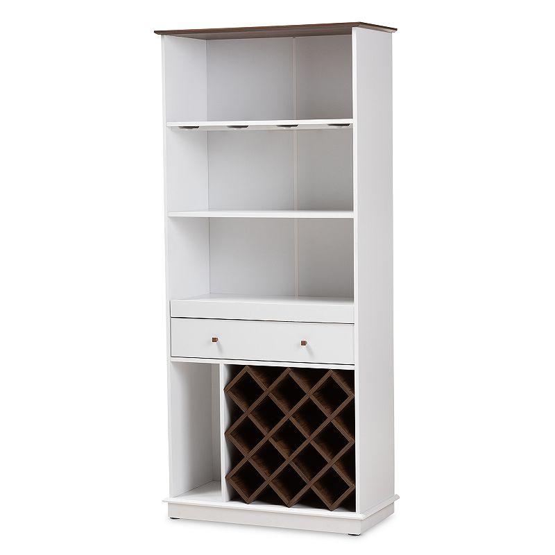 Baxton Studio Serafino Mid-Century Modern Dark Grey and Oak Finished Wood Wine Cabinet