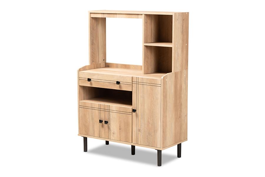 Baxton Studio Patterson Modern and Contemporary Modern Oak Brown Finished Wood 3-Door Kitchen Storage Cabinet
