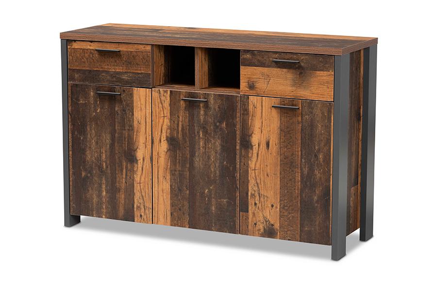 Baxton Studio Ranger Mid-Century Modern Rustic Brown Finished Wood and Grey Metal 2-Door Sideboard Buffet