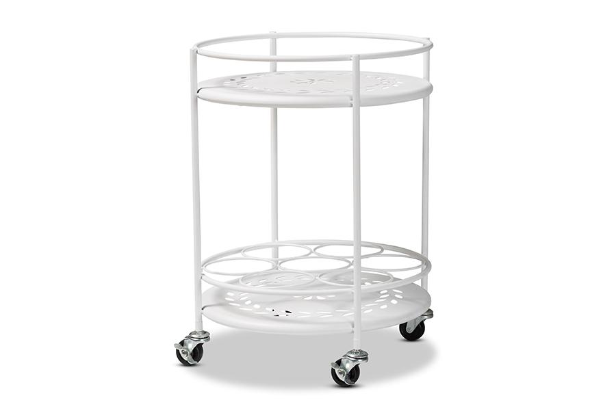 Baxton Studio Dallan Modern Industrial White Metal 2-Tier Kitchen Cart
