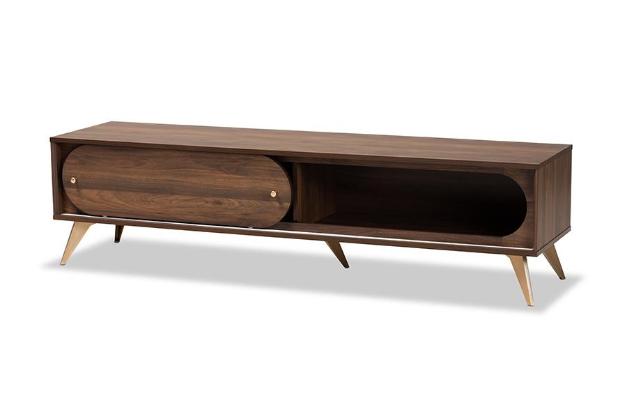 Baxton Studio Dena Mid-Century Modern Walnut Brown Wood and Gold Finished TV Stand