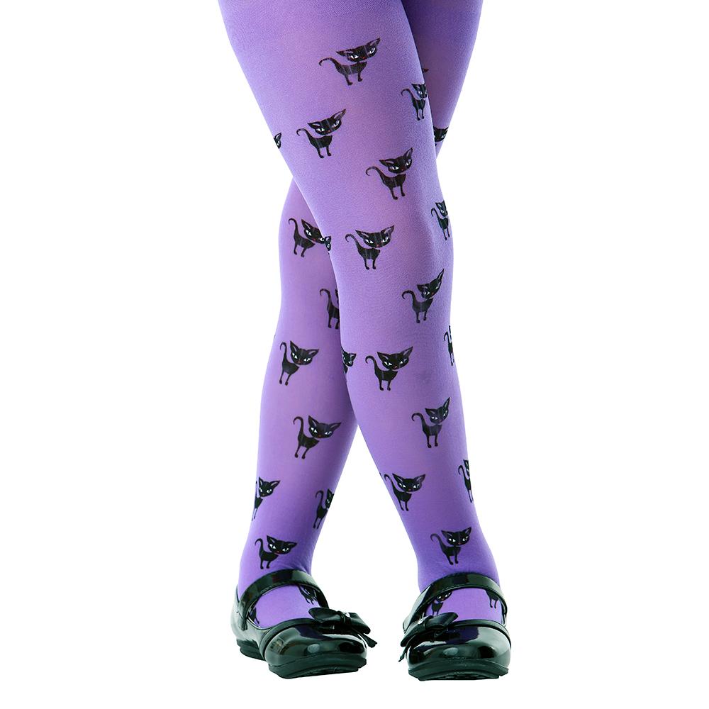 Purple Black Cat Costume Tights, M