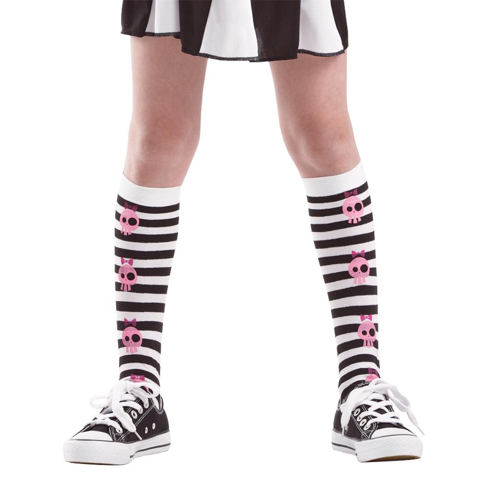 Striped Skull Knee High Costume Tights, L