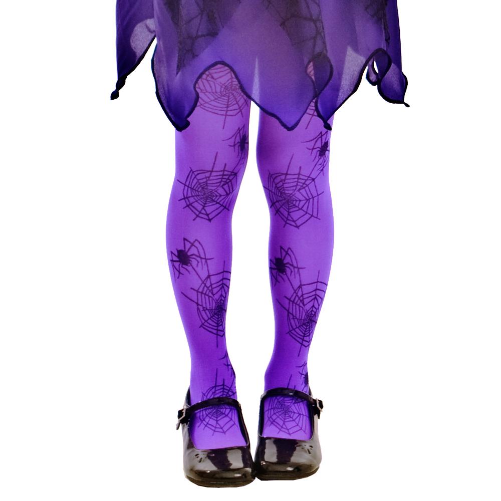 Purple Spiderweb Costume Tights, M