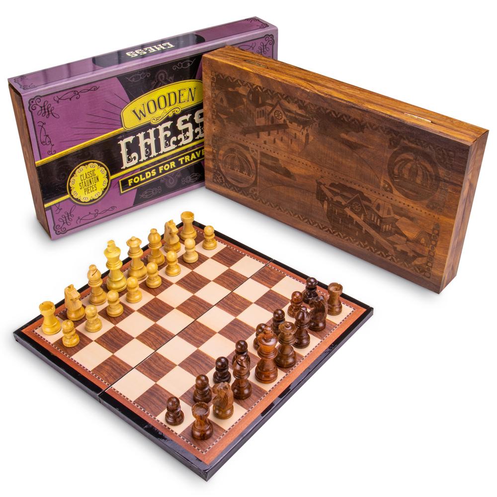 Vintage Wooden Chess Box Set