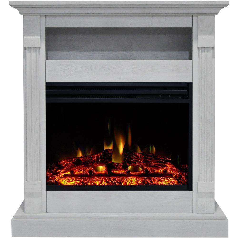 "33.9""x10.4""x37"" Sienna Fireplace Mantel with Deep & Enhanced Log Insert"