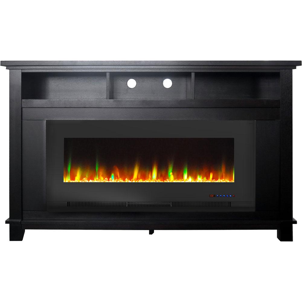 "57.8"" x 14.4"" x 35"" San Jose Fireplace Mantel with 50"" Crystal Insert"