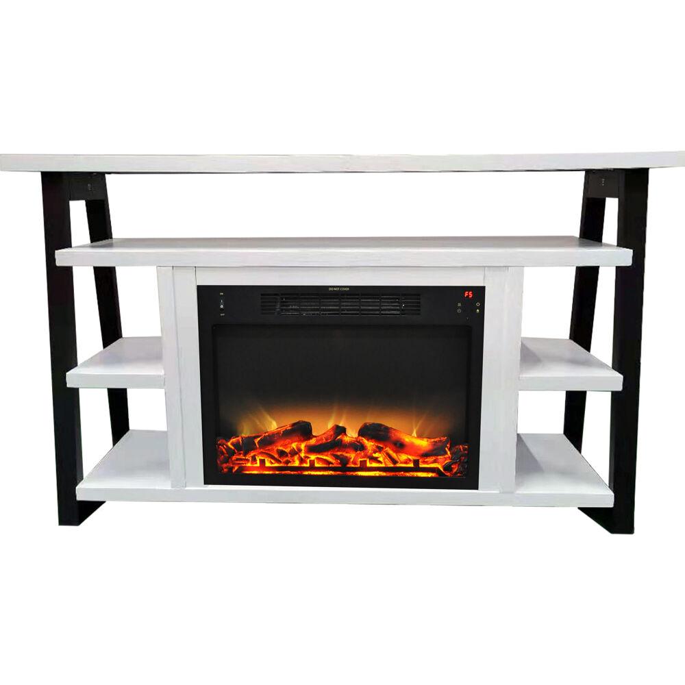 "53.1""x15.6""x31.7"" Sawyer Fireplace Mantel with Log Land Grate Insert"