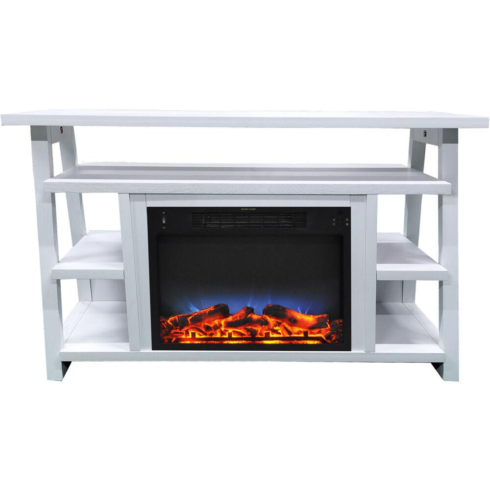 "53.1""x15.6""x31.7"" Sawyer Fireplace Mantel with Log LED Insert"