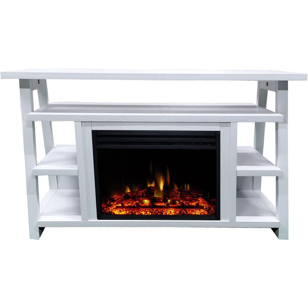 "53.1""x15.6""x31.7"" Sawyer Fireplace Mantel w/Deep & Enhanced Log Insert"