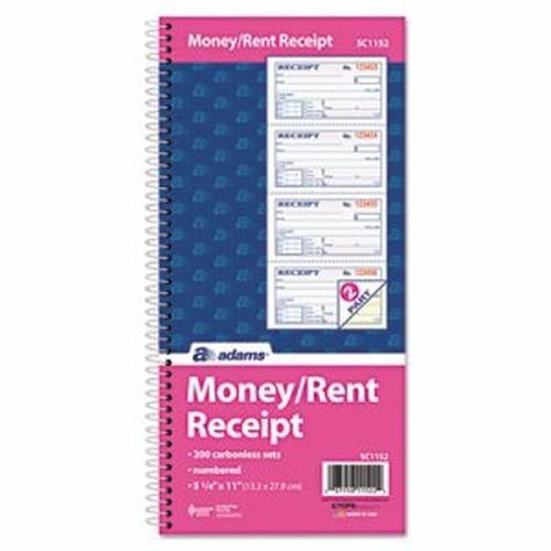 Two-Part Rent Receipt Book, 2 3/4 x 4 3/4, Carbonless, 200 Forms