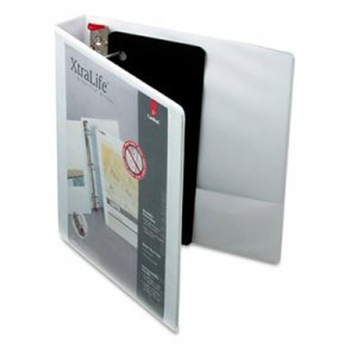 "XtraLife ClearVue Non-Stick Locking Slant-D Binder, 1.5"" Cap, 11 x 8 1/2, White"