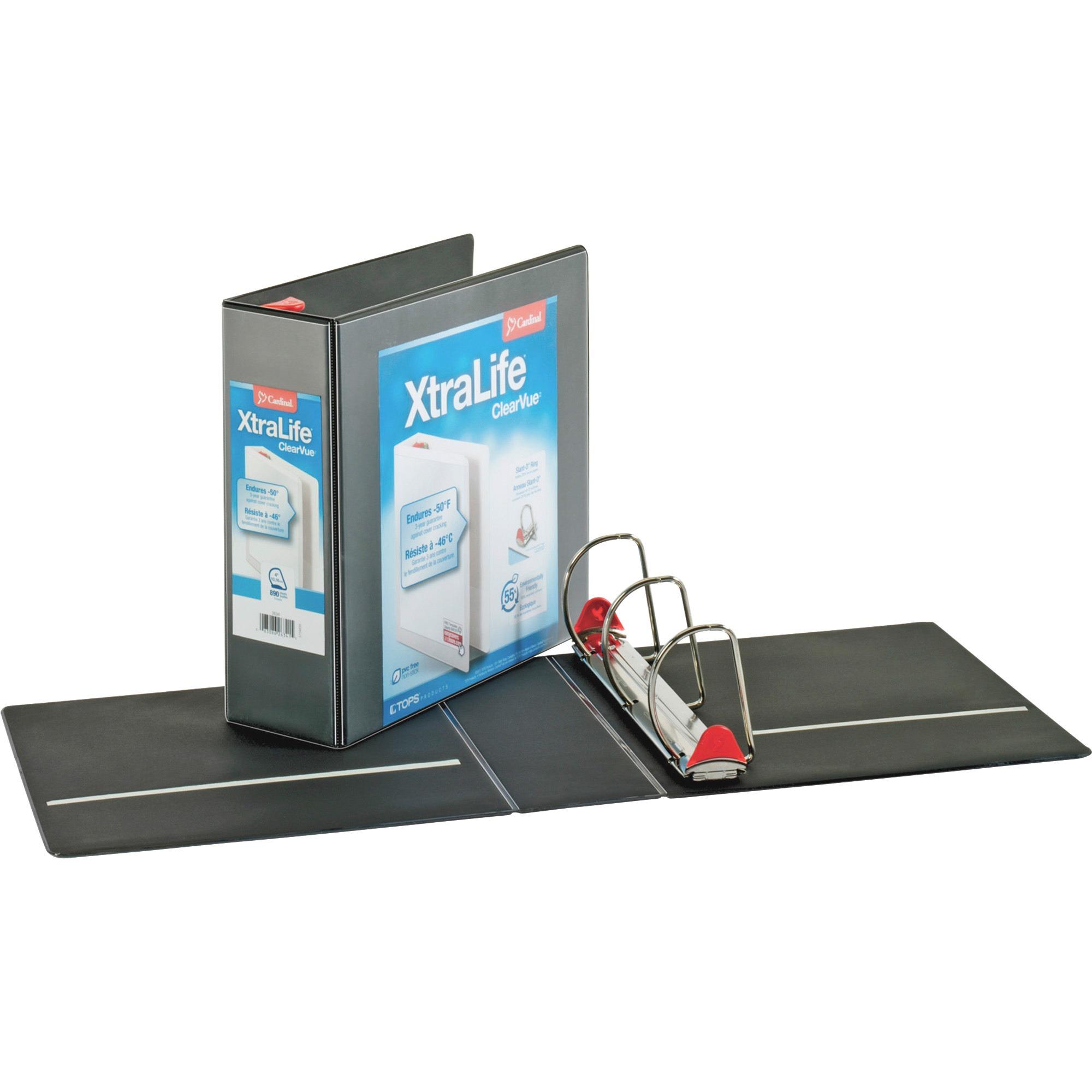 "XtraLife ClearVue Non-Stick Locking Slant-D Binder, 4"" Cap, 11 x 8 1/2, Black"