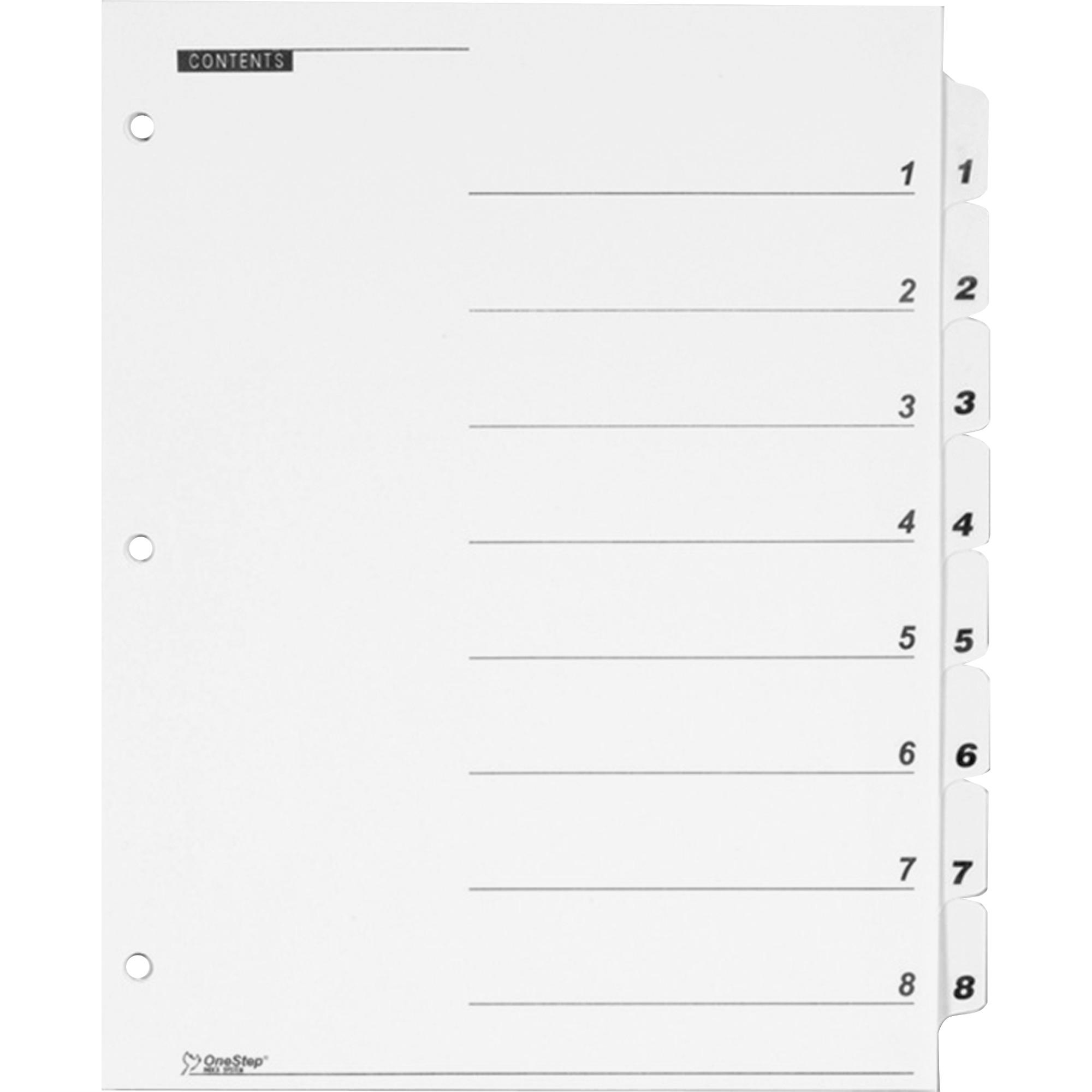 QuickStep OneStep Bulk Index System, Title: 1-8, Letter, White, 24 Sets/Box