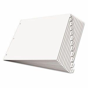 Write 'n Erase Tabloid Index Dividers, 12-Tab, White