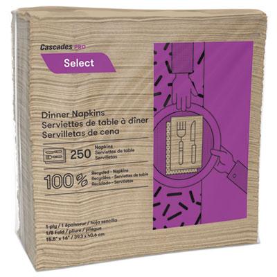 Select Dinner Napkins, 1-Ply, 16 x 15 1/2, Natural, 250/Pack, 12 Packs/Carton
