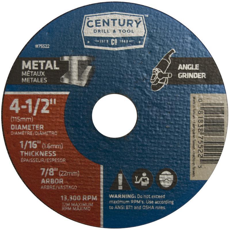 75522 4-1/2X1/16 METAL GRINDING WHEEL