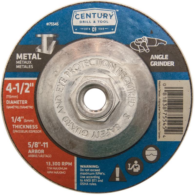 75545 4-1/2X1/4 METAL GRINDING WHEEL