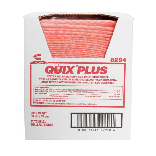 Quix Plus Disinfecting Towels, 13 1/2 x 20, Pink, 72/Carton