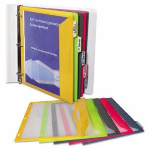 Binder Pocket With Write-On Index Tabs, 9 11/16 x 11 3/16, Assorted, 5/Set