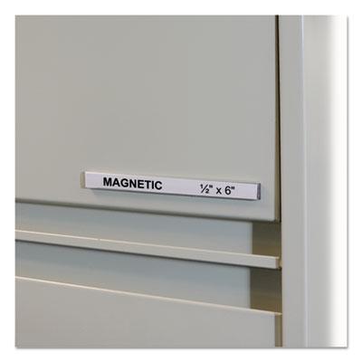 "HOL-DEX Magnetic Shelf/Bin Label Holders, Side Load, 1/2"" x 6"", Clear, 10/Box"