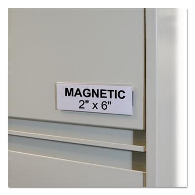 "HOL-DEX Magnetic Shelf/Bin Label Holders, Side Load, 2"" x 6"", Clear, 10/Box"