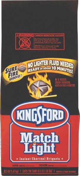 Kingsford 31259 Match Light Charcoal, 11.6 lb Bag, Black