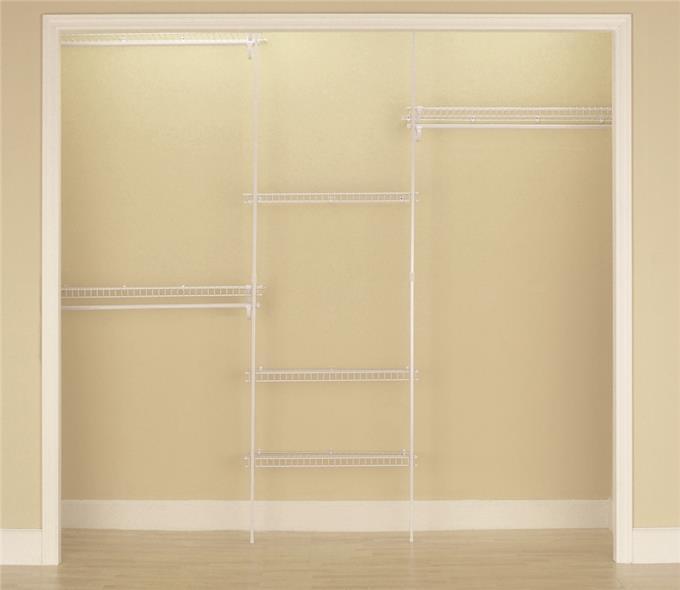 SuperSlide 5636 Closet Organizer Kit, 70 in L x 96 in W x 13 in D, Steel, White