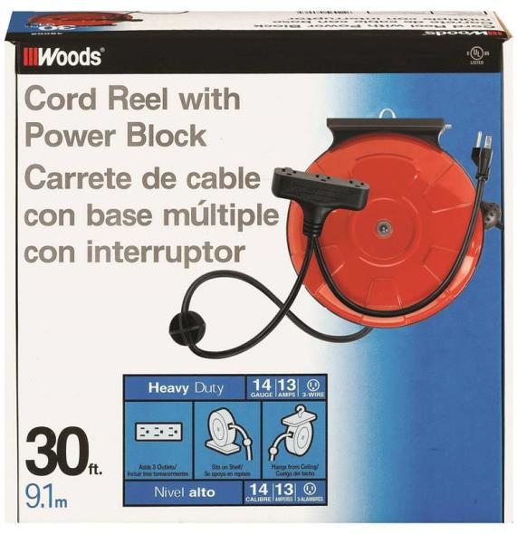 Coleman 48006 Medium Duty 3 Outlet Power Cord Reel 30 ft L Reel, Orange