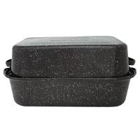 Granite Ware F0511-3 Rectangle Roaster, 21-1/8 in L x 14-1/8 in W x 8-1/8 in H, Carbon Steel/Porcelain, Black