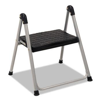 "Folding Step Stool, 1-Step, 200lb, 9 9/10"" Working Height, Platinum/Black"