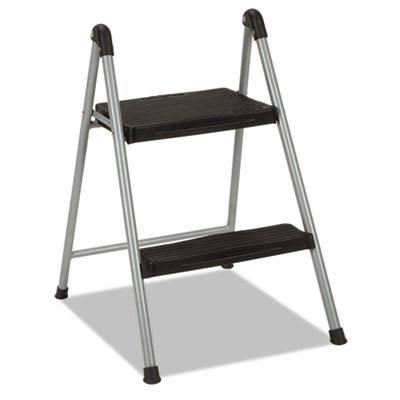 "Folding Step Stool, 2-Step, 200lb, 16 9/10"" Working Height, Platinum/Black"