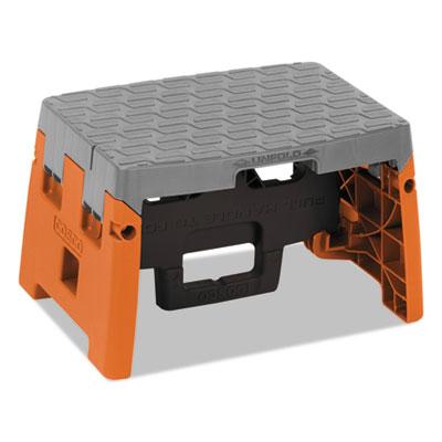 "One-Step Folding Step Stool, 300 lb, 8 1/2"" Working Height, Orange/Gray"