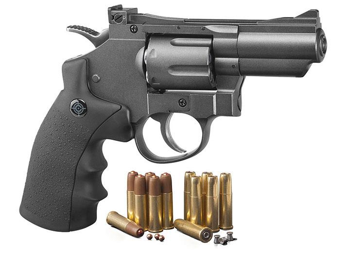 Crosman (Black/ Grey)CO2 Powered Dual Ammo Full Metal Snub Nose Air Revolver