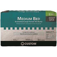 Custom Building MGMM50 Premium Medium Bed Mortar, 50 lb, Bag, White, Characteristic, Solid Powder
