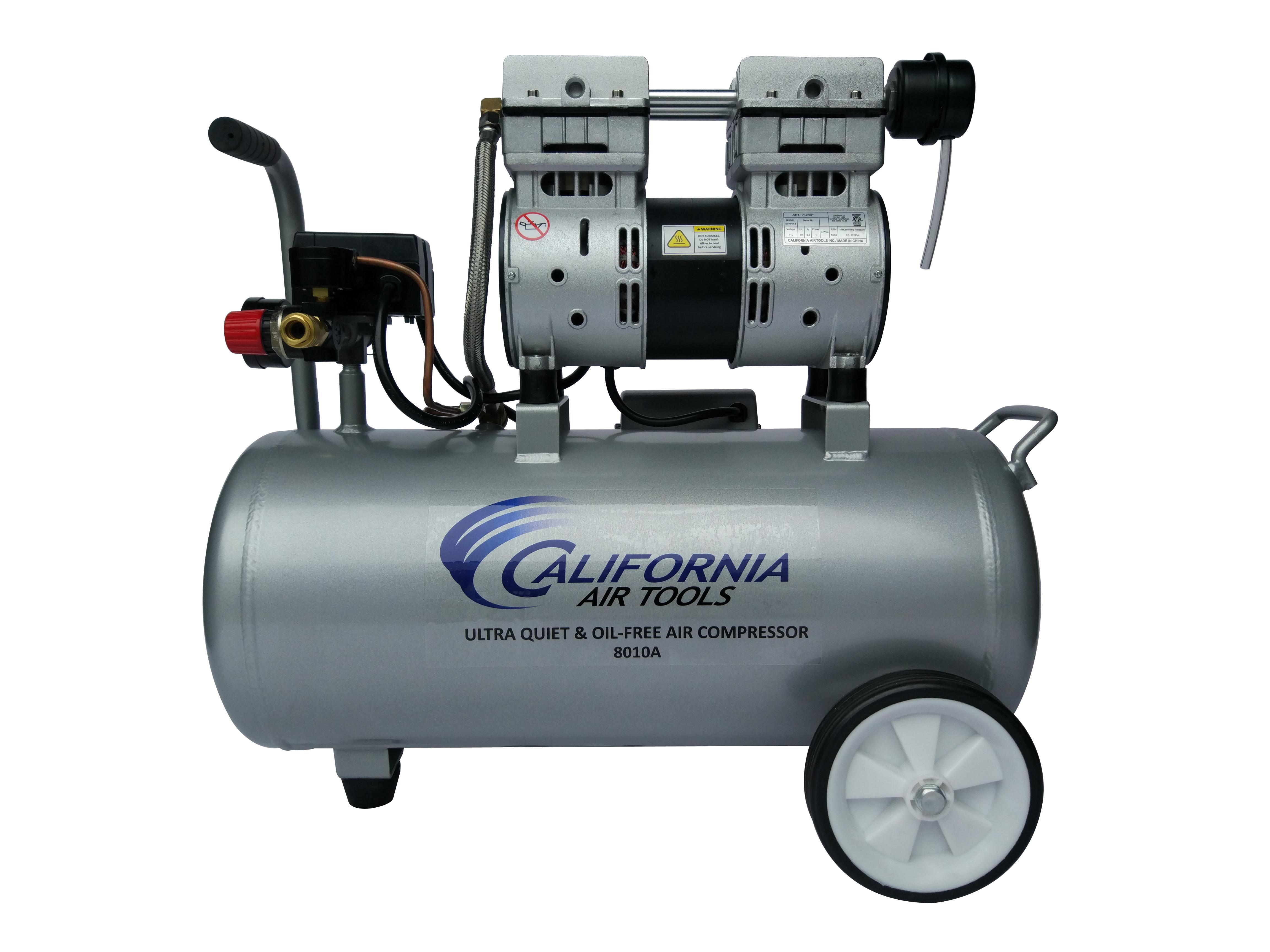 California Air Tools 8010A Ultra Quiet  & Oil-Free  1.0 Hp, 8.0 Gal. Aluminum Tank Air Compressor