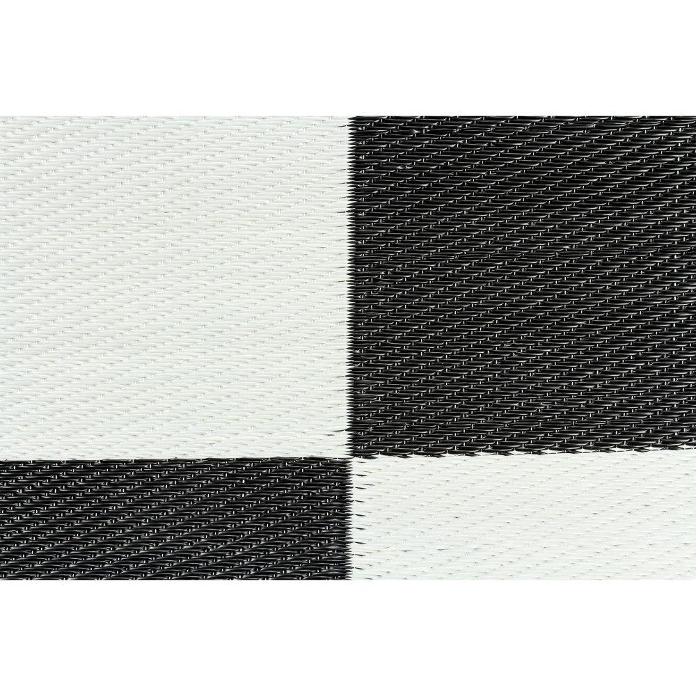 OUTDOOR MAT, 6FT X 9FT, BLACK/WHITE CHECKERED