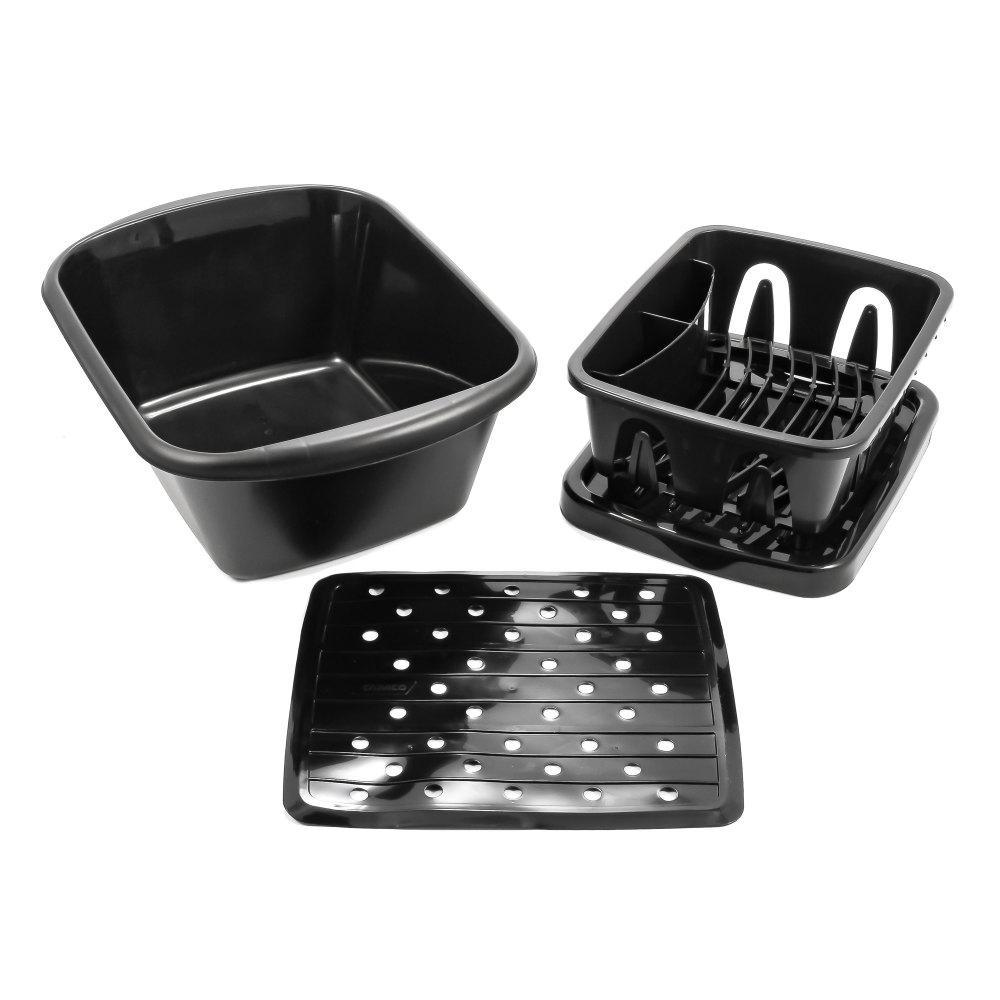 SINK KIT W/DISH DRAINER, DISH PAN & SINK MAT, BLACK