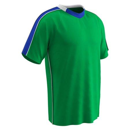 Champro Adult Mark Soccer Jersey Neon Green Royal White SM