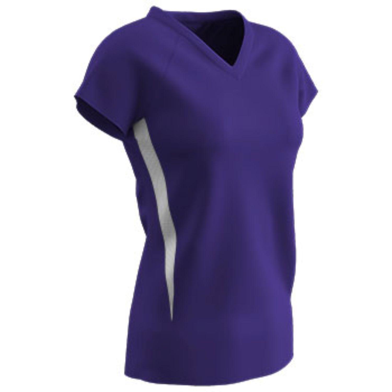 Champro SPIKE Ladies Volleyball Jersey Purple White Xlarge