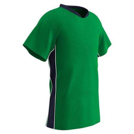 Champro Youth Header Soccer Jersey Neon Green Navy White LG