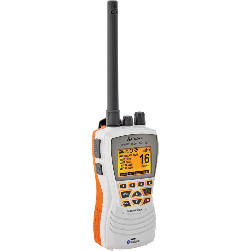 COBRA - MRHH600WFLTGPS 6 WATT HANDHELD VHF FLOATING MARINE RADIO WITH DISTRESS, GPS & BLUETOOTH - IN WHITE