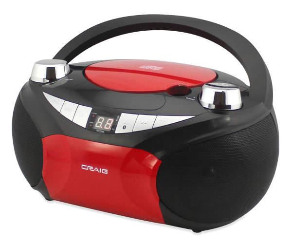 CRAIG CD-AM/FM BOOMBOX 3.5 AUX IN RED