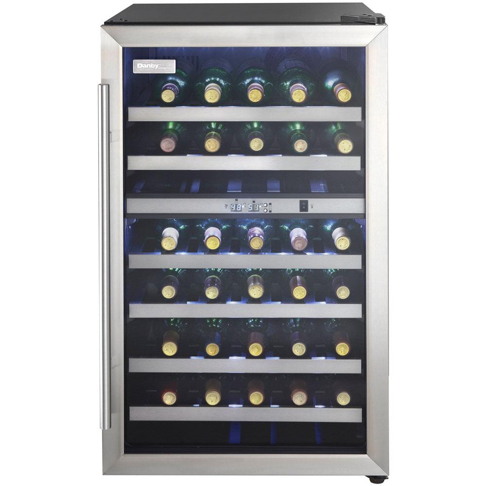38 Bottle Wine Cooler,Stainless Steel Door Trim,Reversible Door,Light