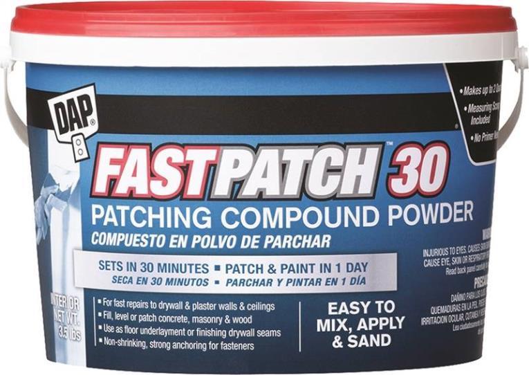 DAP Fastpatch 30 Patching Compound Powder, 3.5 lb, Tub, White, Slight, Powder