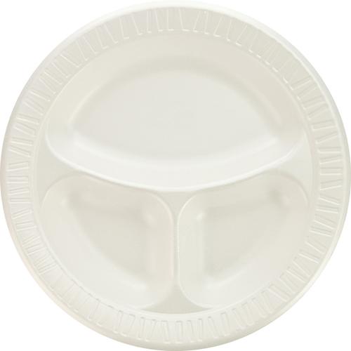 "Laminated Foam Dinnerware, Plate, 3-Comp, 10 1/4"", White, 125/Pk, 4 Pks/Ctn"