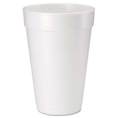 Drink Foam Cups, 16 oz, White, 20/Bag, 25 Bags/Carton