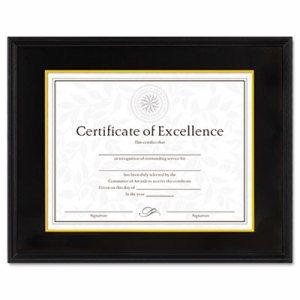 Hardwood Document/Certificate Frame w/Mat, 11 x 14, 8 1/2 x 11, Black