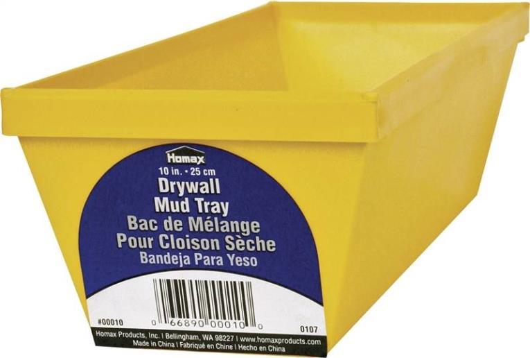 Homax 10 Lightweight Drywall Mud Pan 10 in W x 6 in H, Polystyrene/Steel Edge, Yellow
