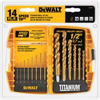 Dewalt DW1341 Speed Tip Drill Bit Set, 14 Pieces, 1/16 - 1/2 in